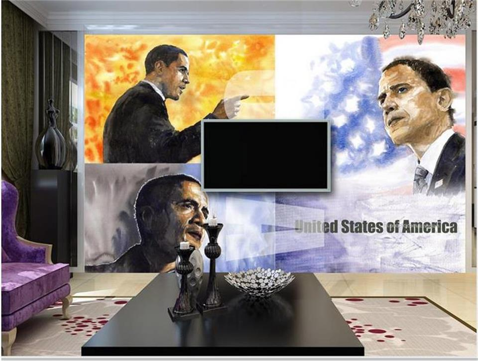 3d wallpaper photo wallpaper custom living room mural watercolor Obama president 3d painting TV background wallpaper for wall 3d image