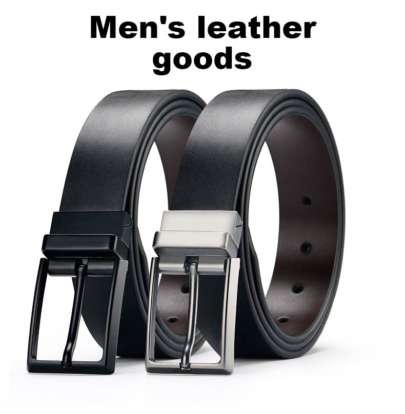 DOULILU Double-sided available Two-layer leather pin buckle belt Men's double-sided leather casual fashion belt rotation buckle  For Men Jeans Casual Belt Pin Buckle Masculine Cummerbund1 (1)