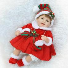 Nicery 18inch 45cm Reborn Baby Doll Magnetic Mouth Soft Silicone Lifelike Girl Toy Gift for Children Christmas Red Christmas