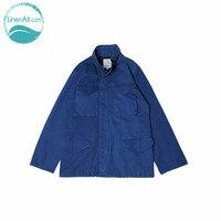 Linenall Мужская Синий крашение ручной завод снижается грязный M65 M65 Военная Униформа куртка четыре мешок куртка синий краситель Индиго женский