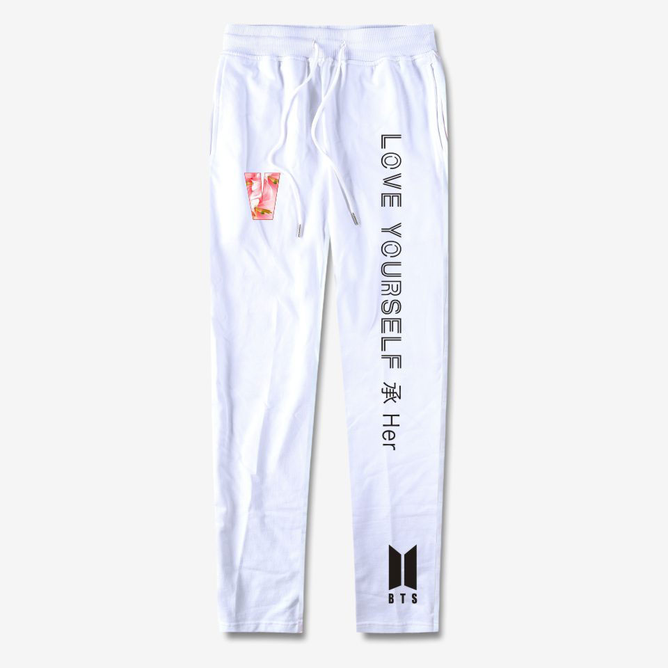 BTS 100% Cotton High Quality Pants Love Yourself Trousers Casual Sweatpants Pants Jogger Slim K-pop Men And Women Clothes