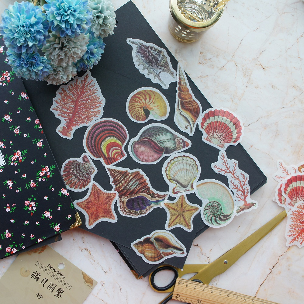 43pcs Seabed Shell Coral Design Paper Sticker As Scrapbooking DIY Gift Packing Label Decoration Tag Party Decoration