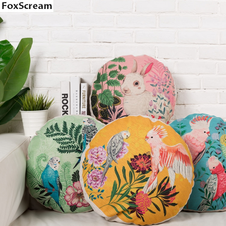 bird pillow round pillow decorative pillows floral cushions cover home decor blue pink blue linen couch pillowcase for sofa
