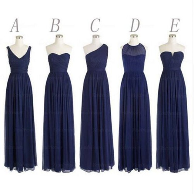 5 Styles Long Navy Blue Bridesmaid Dresses Party One Shoulder Chiffon vestido longo de festa para casamento Custom Made