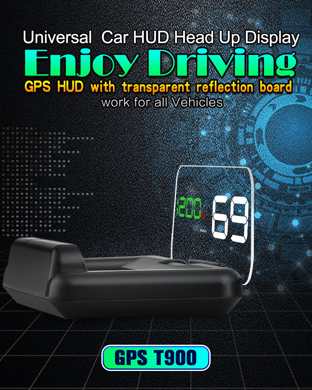 Xycing Head Up Display Obd2 Car Speedometer Hud Vehicle Digital Radar Smart Meter Hd Fuel Consumption Temperature Rpm Tachousd 3984 Piece