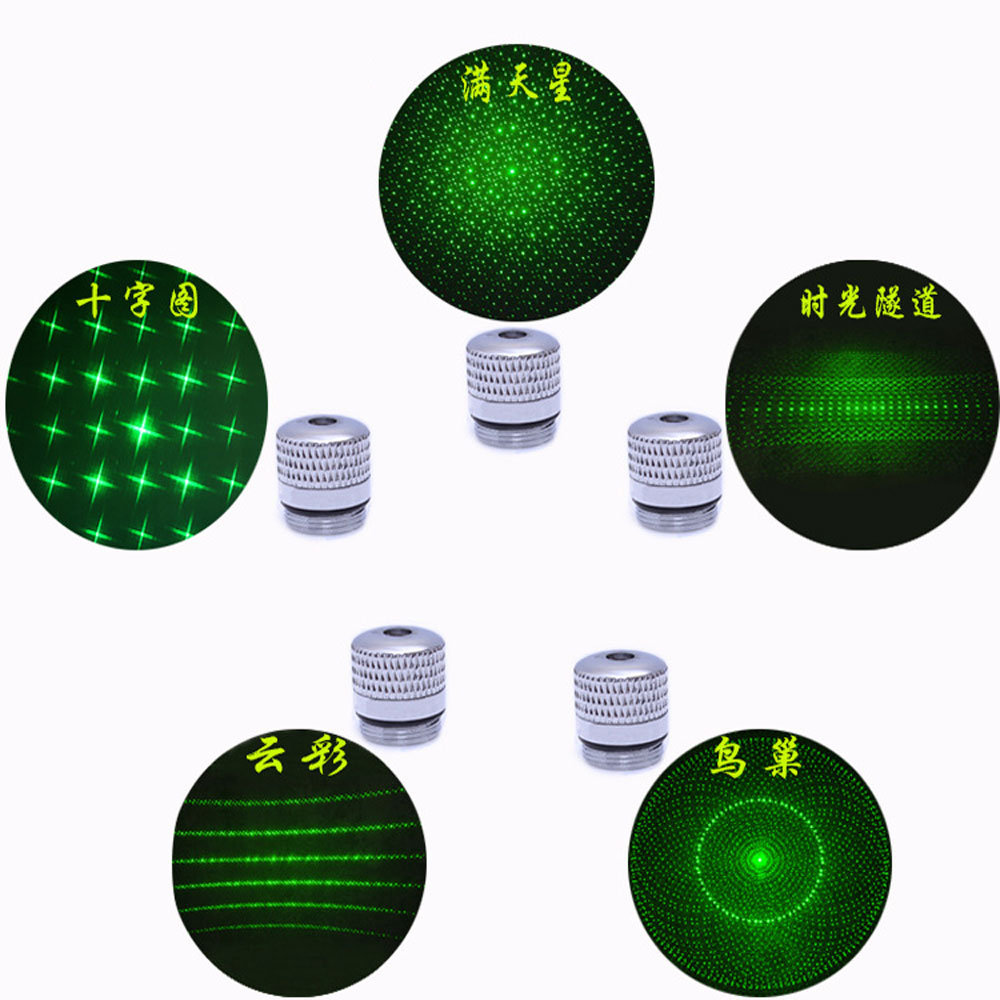 5pcs Green Laser Sight 303 Cnc Lasers Pointer Powerful Device Adjustable Focus Lazer With Star Cap(does Not Include Laser)