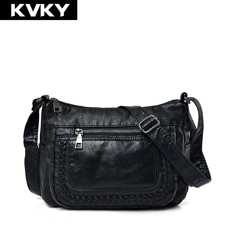 KVKY Brand Women Messenger Bag Designer Small Soft PU Leather Ladies Shoulder Crossbody Bags Hobos Handbags Clutches Casual Tote lykanefu casual messenger bags for women crossbody brand small shoulder bag ladies pu leather handbags flap with long chain