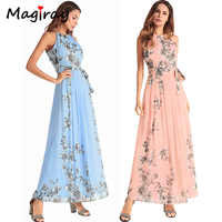 Magiray 2019 été longue plage robe femmes élégant maxi mousseline de soie robe floral sans manches cocktail rose vintage fête robe d'été c39