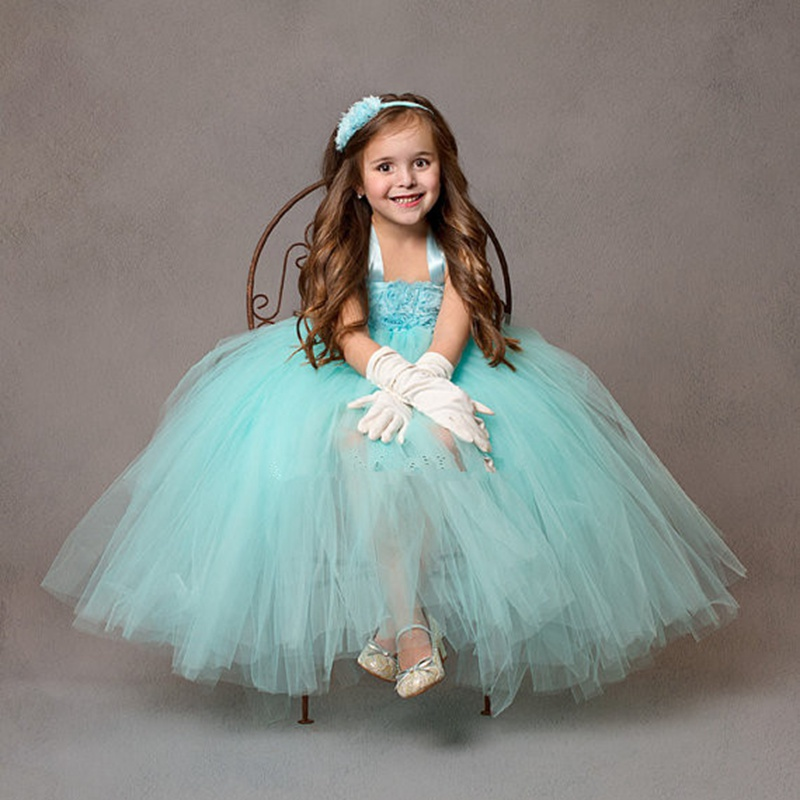 Princess Flower Girls Dresses Floral Ankle Length Appliques Kids Girls Ball Gown Tutu Dress For Wedding Birthday Party 2017 ball gown embroidery flower girl dresses appliques v neck girls party dress for wedding birthday short tutu princess dress