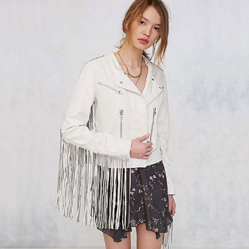 Women Solid Color Slim Fit Tassel Pu   Leather   Patchwork with Zipper Motorcycle Short Jacket YL4738