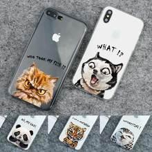 цены на Cat Phone Case For iphone X 5 5s SE 6 6s 7 8 plus Cute Transparen Protective Back Cover TPU Soft Silicone Colorful Paint  в интернет-магазинах