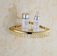 цена на Bathroom Shelves Golden Brass Metal Shower Corner Shelf Wall Mount Shampoo Storage Shelf Rack Bathroom Basket Holder Kba099