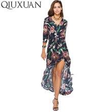 QIUXUAN Women Casual Dress Spring Summer Fashion Floral Printed Beach Dress  Button Front Shirt Dress Women 3048f47b9