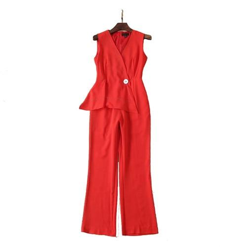 2019 Printemps vêtements été v-cou Combinaisons fit et large jambes Barboteuses Femmes pantalons royal bleu solide rouge qualité supérieure xl