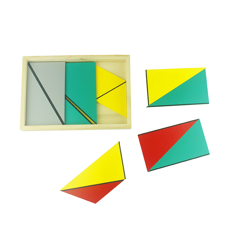 Free Shipping Kid Toys Montessori Material Math Toy Constructive Triangles Equilateral Rectangular Box Colorful Early Math Toys