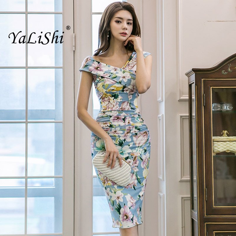 2018 Plus Size Summer Bodycon Pencil Dress Women Blue Print V-neck Sleeveless Casual Floral Dress Elegant Office Lady Dresses