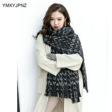 Женский модный зимний шарф, вязаный шерстяной шарф, шаль, женский шарф, толстая теплая шапка, зимний плед
