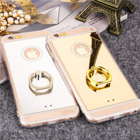 Ultra Thin Soft TPU Phone Cases Logo Window Support Ring Buckle Plating PC Mirror Protect Cover
