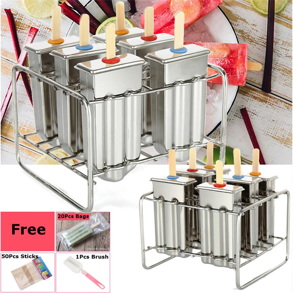6 Molds Frozen Stainless Steel Stainless Steel Popsicle Molds Stick Holder BPA Free