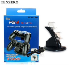 TENZERO Stand Double Handle Wireless Charger Dual USB Charging Dock Station Stand For Playstation 4 Controller PS4 Slim Gamepad