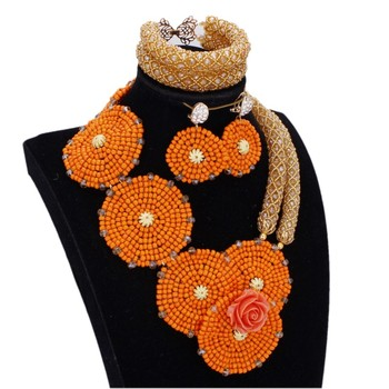 DODU JEWELRY Dubai African Beads Jewellery Round Flowers Handmade Women Set Jewelry Necklace and Bracelet Earrings Free Shipping
