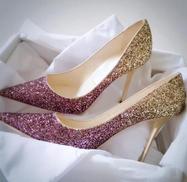e0c9ca4daa4 US $88.0 |newest bling bling glitter high heel shoes 2017 sexy pointed toe  woman pumps celebrity thin heels wedding shoes black gold silve-in Women's  ...