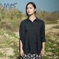 XianRan Женщины Batwing Рубашки Свободно Случайные Рами Рубашки Черный Whirt Плюс Размер Блузка Высокое Качество Бесплатная Доставка