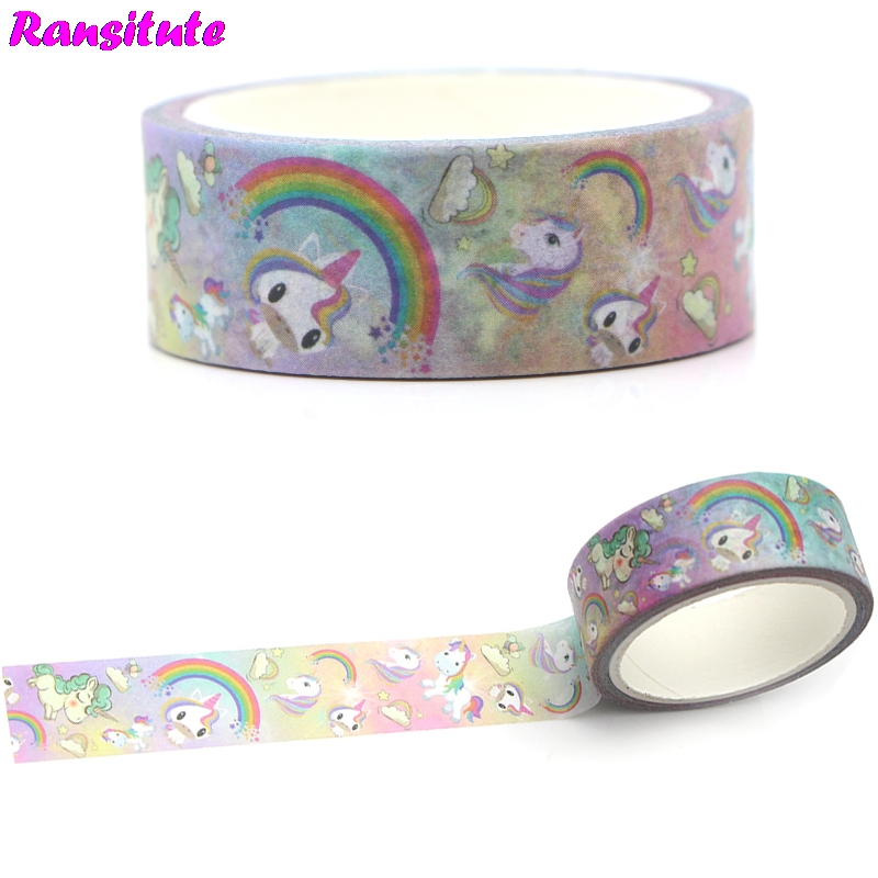 Ransitute R366 Rainbow Horse Washi Tape Manual DIY Color Decorative Paper Tape Hand Account Sticker Student Supplies