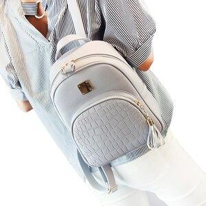 Image 1 - Женский кожаный рюкзак, школьные сумки для девочек подростков, Маленькая женская сумка с блестками и камнями в стиле преппи