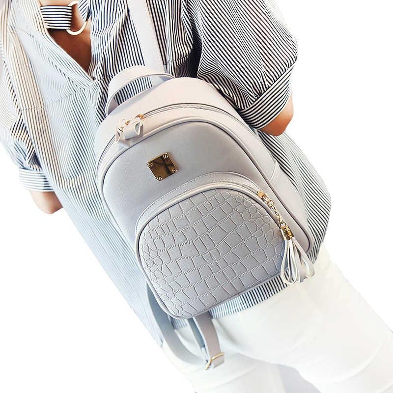 Kobiety plecak skórzane szkolne torby dla nastolatków dziewczyny kamień cekinami kobiece styl preppy mały plecak