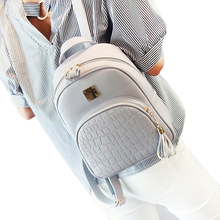 Women backpack leather school bags for teenager girls stone sequined female preppy style small  bag