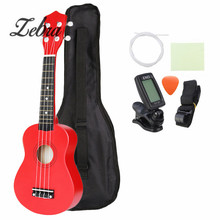Zebra 21″ Red Soprano Ukulele Uke Hawaii Bass Guitar Guitarra with Tuner String Strap Case Set for Musical Instrument Beginner