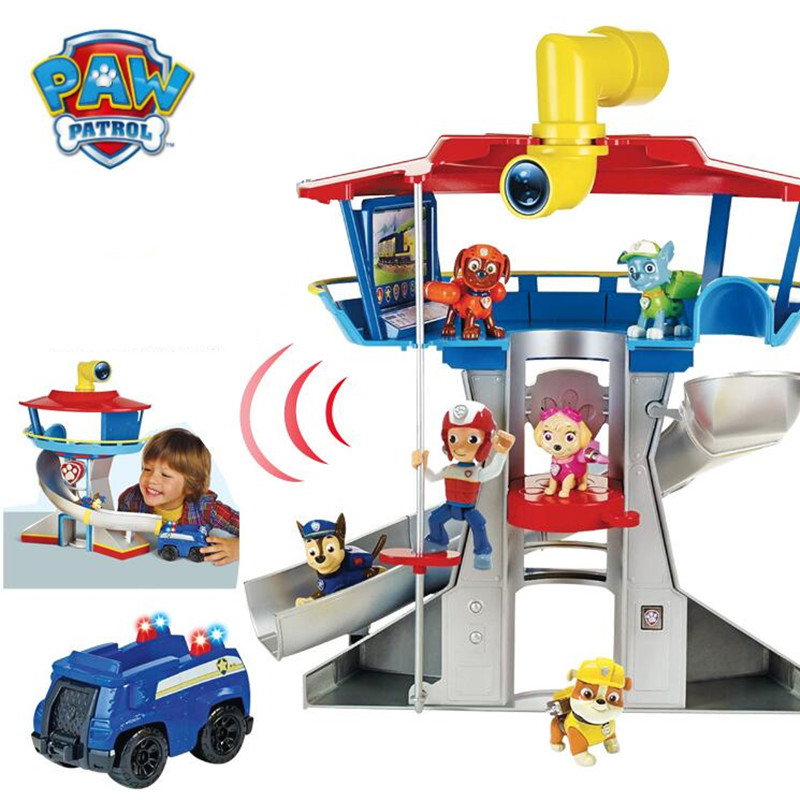 Puppy Patrol  Paw Patrol Dog Car Action Figures Patrulla Canina Sound And Light Car Parking Lot Toy Set Kids Toys Gifts 12pcs set canine patrol dog toys russian anime doll action figures car patrol puppy toy patrulla canina juguetes gift for child