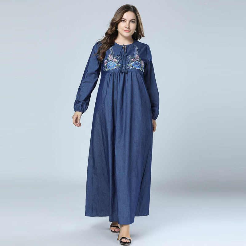 f92c7a3988 2018 New Autumn Denim Fabric Embroidery Abaya Muslim Dress Moroccan dubai  Kaftan islamic clothing Plus Size