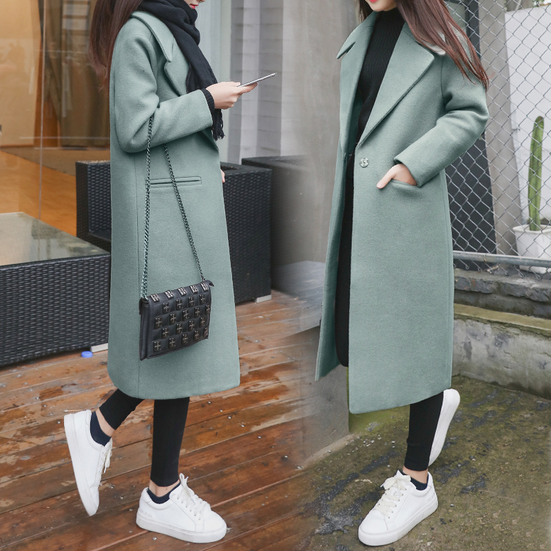 High-end boutique solid color woolen   coat   women's autumn and winter new long section chic thick warm woolen   coat   TB190509