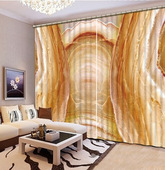 Luxury Blackout 3D Window Curtain For Living Room marble curtains