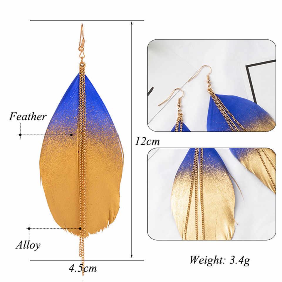6 สีเครื่องประดับแฟชั่นสองเรืองแสงคู่สีที่แปลกใหม่ห้อย Eardrop ต่างหูยาวโลหะพู่ต่างหูขนนกสำหรับผู้หญิง