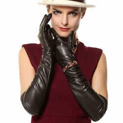 Gants en cuir véritable Nappa Super longs | Gants pour femmes de 22 pouces, jeu d'opéra 100% en peau d'agneau à temps limité L109NN