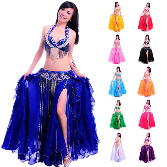 Belly Dance Costume Bellydance Set Indian Clothes 2pcs Bra&Belt 34B/C 36B/C 38B/C 40B/C 11 Colours