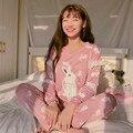 Плюс размер пижамы Новая Мода Повседневная Пижамы Наборы ночное большой размер Пижамы Зима Pijamas Женщины Пижамы Хлопок Pijamas
