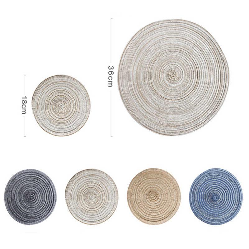 Нордическая круглая подставка под прибор противоскользящие бирдекели изолированные Твердые Салфетки льняные Нескользящие рами коврик кухонный инструмент для домашнего декора