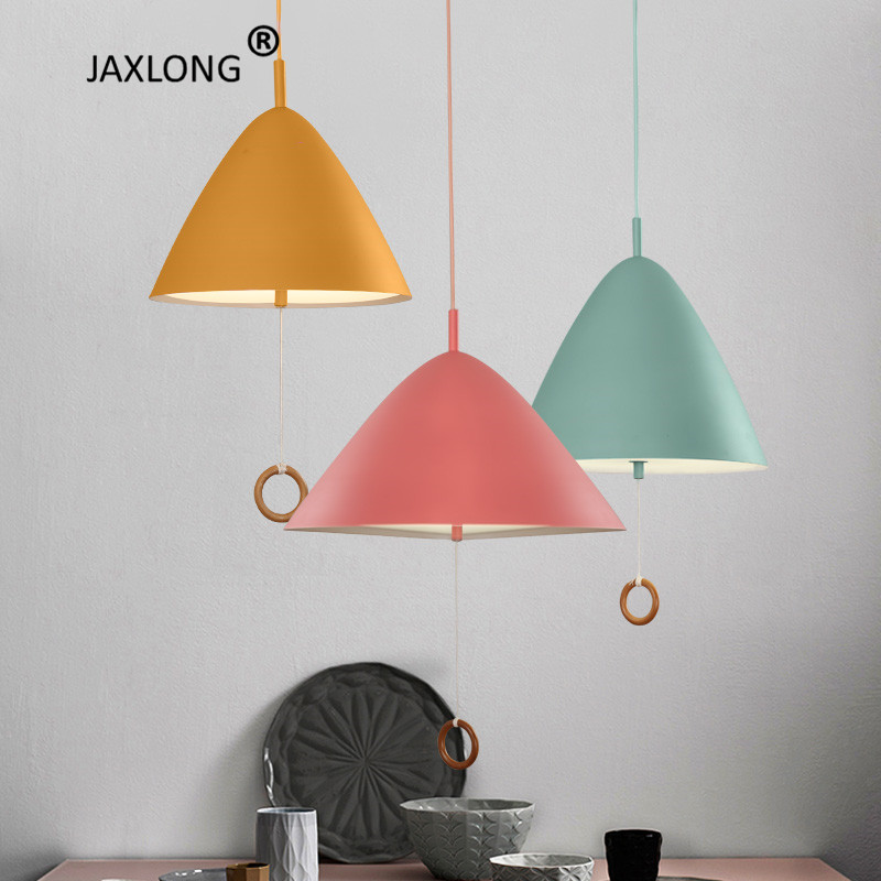 Nordic Drawstring Switch Macaron LED Pendant Lamp Coffee Shop lustre Colorful Indoor Decor Lights Loft Hanging
