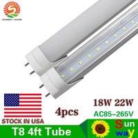 Sunway Lighting 4 Pack 22W T8 LED Tubes G13 SMD 2835 1200mm 96 led Light Lamp Bulb 4feet 1.2m 4Ft AC85 265V Led Lighting