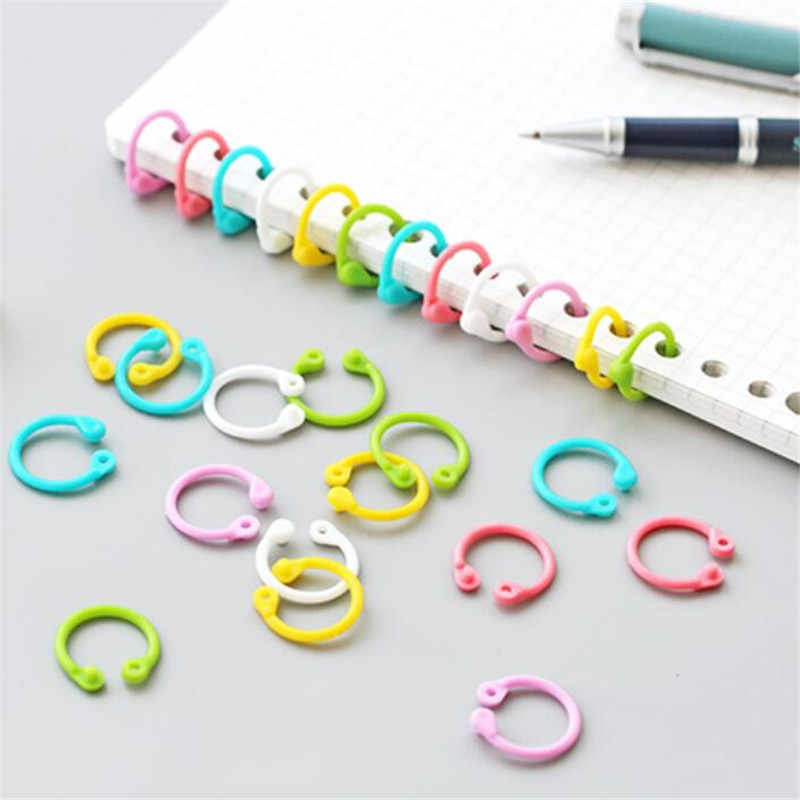 1 กล่อง 30 pcsพลาสติกสร้างสรรค์Multi-FunctionวงกลมแหวนOffice Bindingอุปกรณ์อัลบั้มLoose-Leafหนังสือที่มีสีสันbinder Hoops