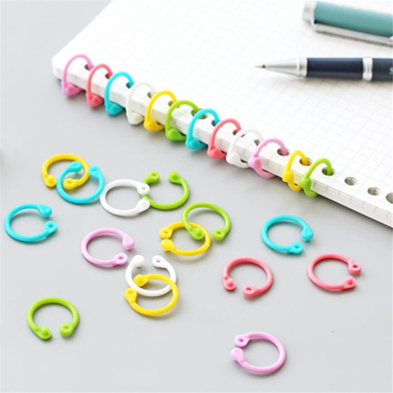 1 Box 30 Pcs Creative Plastic Multi-Function Circle Ring Office Binding Supplies Albums Loose-Leaf Colorful Book Binder Hoops