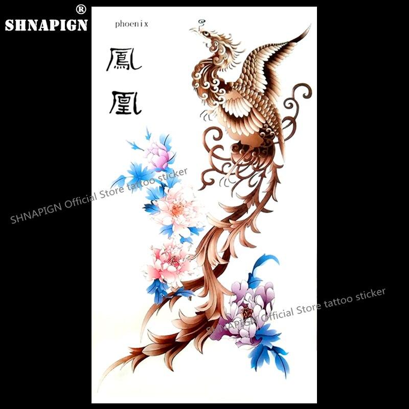 668a7e034fd05 SHNAPIGN The Rising Phoenix Temporary Tattoo Body Art Flash Tattoo Stickers  17*10cm Waterproof Fake Car Styling Wall Sticker