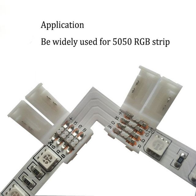 GRN-FLASHING 10mm 4 Pin L shape led rgb connector For connecting corner right angle 10mm 5050 RGB LED Strip Light