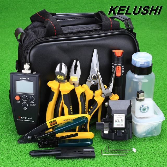 KELUSHI HS-30 de 28 em 1 Kit de Ferramentas De Fibra Óptica FTTH Cutelo e Medidor De Potência Óptica 10 mW Localizador Visual da Falha da Fibra Óptica Stripper
