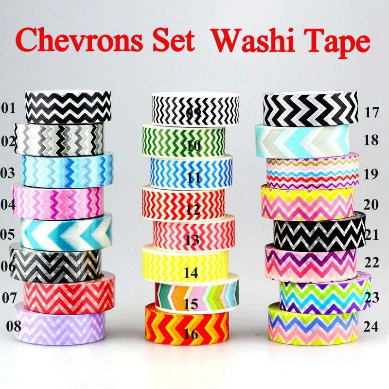 24 Options Japanese Washi Tape Chevrons Adhesive Tape DIY Stickers Paper Masking Tape 15mm*10m For Craft Scrapbooking Card Make