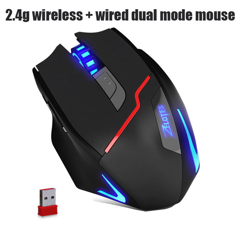 2018 new 3200DPI 2 4G Wired Wireless Dual mode Gaming Gamer 7 Button LED Optical DPI